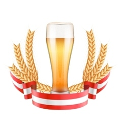 Brewery label with light beer glass and ribbon vector