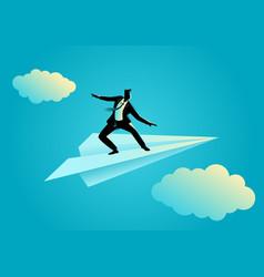 Businessman balancing on paper plane vector