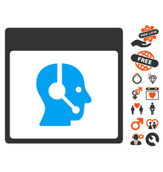 Call center operator calendar page icon with vector
