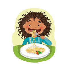 child eating healthy food vector image vector image