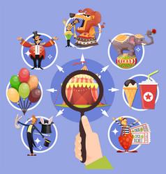 circus cartoon colored concept vector image vector image
