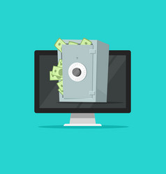 computer with safe box full of paper money vector image vector image