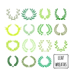decorative floral set of 15 wreaths vector image