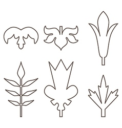 Decorative outline leaves icons set isolated black vector image vector image