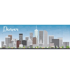 Denver skyline with gray buildings and blue sky vector