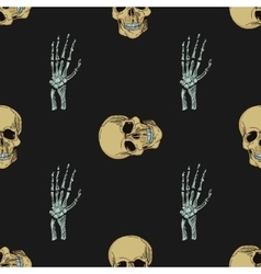 doodle skull pattern vector image vector image
