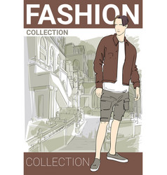 Fashion collection style model male wear elegant vector