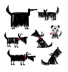 Funny black dogs collection for your design vector