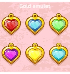 Golden old amulets hearts with gems vector