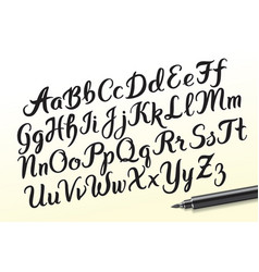 hand drawn brushpen alphabet letters vector image vector image