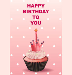 Happy birthday card template with pink cupcake vector
