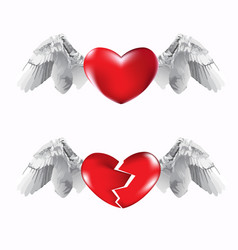 hearts and wings vector image vector image