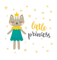 little princess funny postcard for girl vector image vector image
