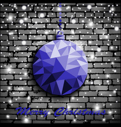 origami style blue christmas toy with shadow on vector image vector image