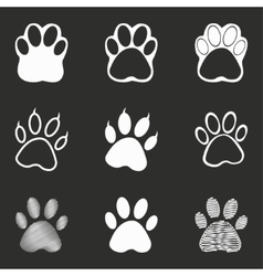 Paw icon set vector image vector image
