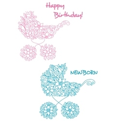 Pink and blue baby strollers with floral design vector