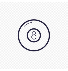 pool eight ball line icon billiard game thin vector image vector image
