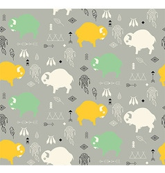 Seamless pattern with cute baby buffaloes vector