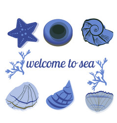 Seashells in blue with text as a background vector