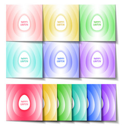 set of easter cards of different colors with a vector image vector image