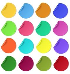 Set of glaring colour round paper stickers vector