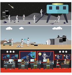 Set of space exploration concept posters vector