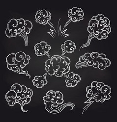 sketch of clouds on blackboard vector image vector image