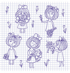 sketch of girl and flowers vector image