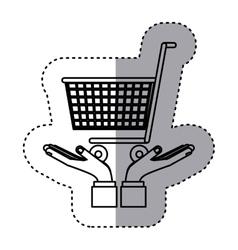Sticker contour of hands holding a shopping cart vector