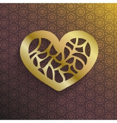 Stylish gold valentines heart vector