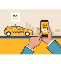 Taxi service app Hand with smartphone and vector image