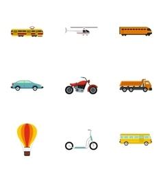 Transportation facilities icons set flat style vector