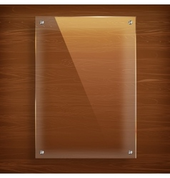 Wooden background with glass frame vector image