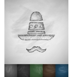 Sombrero and mustache icon hand drawn vector