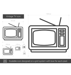 Vintage tv line icon vector