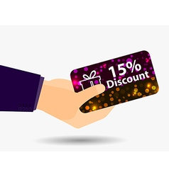 Coupon for a 15-percent discount in the hand vector