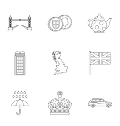 Attractions of United Kingdom icons set vector image