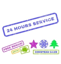 24 hours service rubber stamp vector