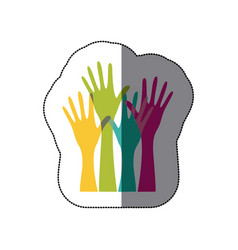 sticker colorful set hands raised icon vector image