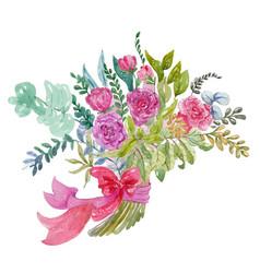 Watercolor bouquet vector