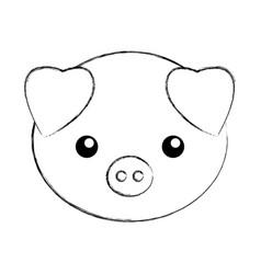 Cute sketch draw pork cartoon vector