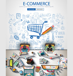Ecommerce infograph brochure template with hand vector