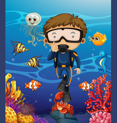 Man scuba diving under the ocean vector