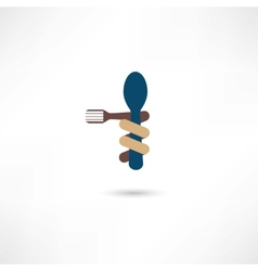 Spoon and fork around it vector image