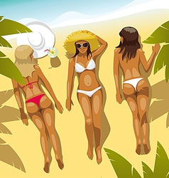 3 Girls on the Beach vector image