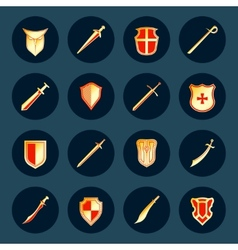 Sword and shield icons set vector