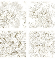 set of seamless floral wallpaper vector image