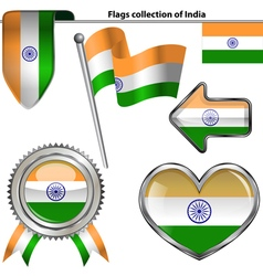 Glossy icons with indian flag vector