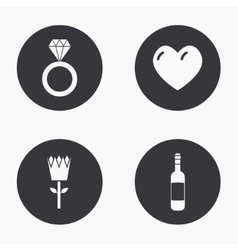modern love icons set vector image