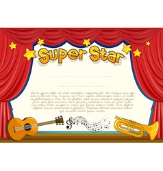 Certificate with musical instrument on stage vector